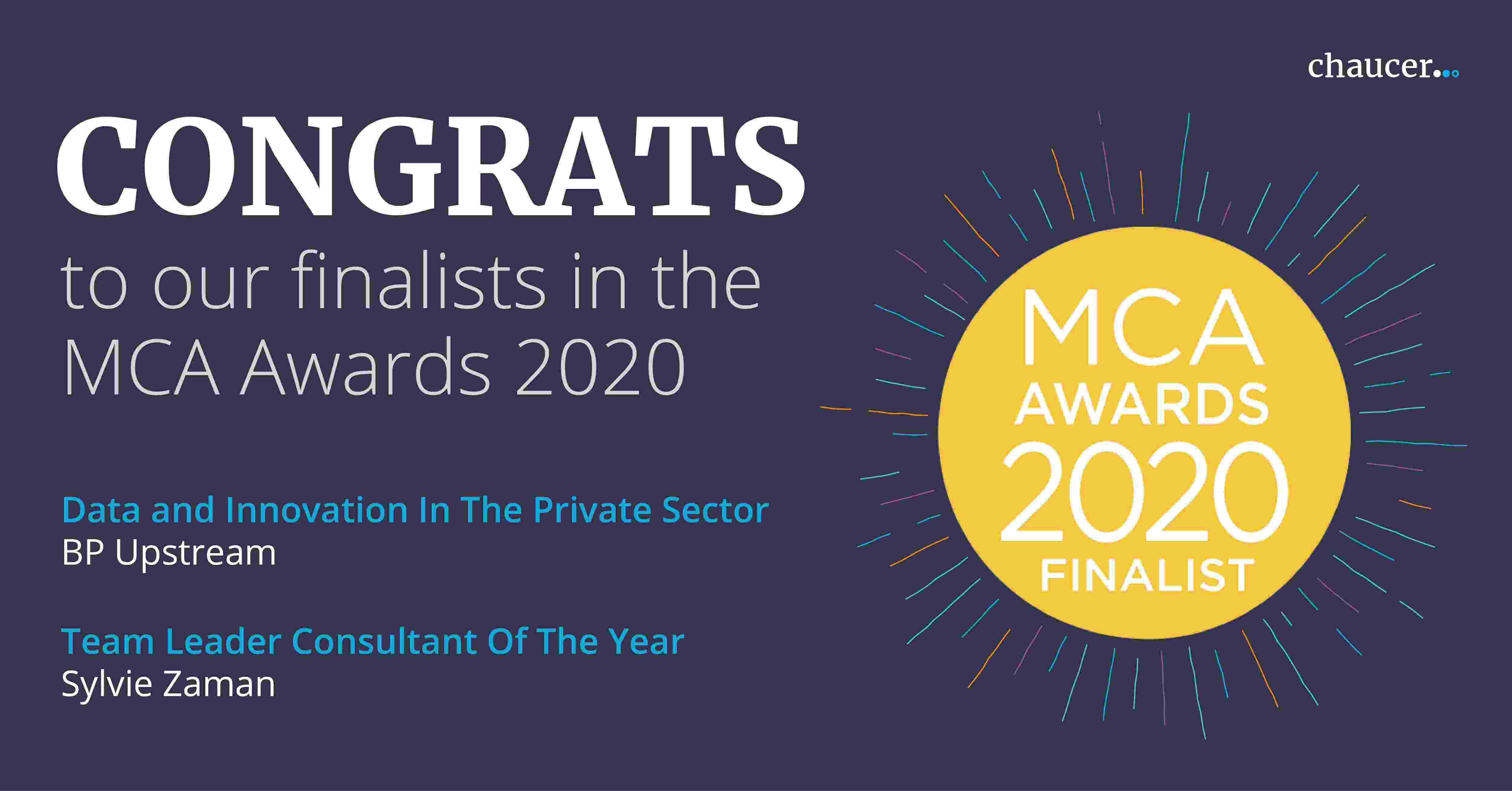 "Chaucer Nominated For A MCA Award In ""Data & Innovation In The Private Sector"""